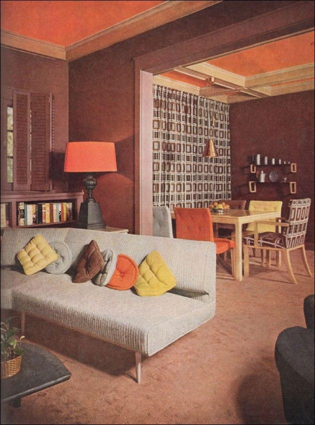 1953 mid century living room orange