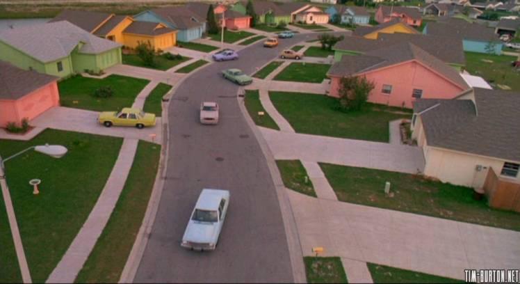 Edward Scissorhands Tim Burton Neighborhood Houses Pastel