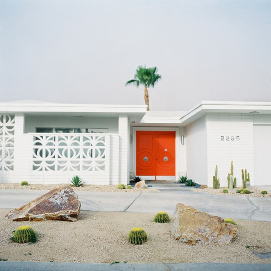 orange door mid century modern house white exterior palm springs desert landscaping