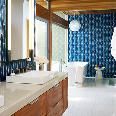 sunset blue heath tiles bathroom