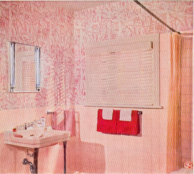Better Homes Gardens 1961 vintage pink bathroom wallpaper
