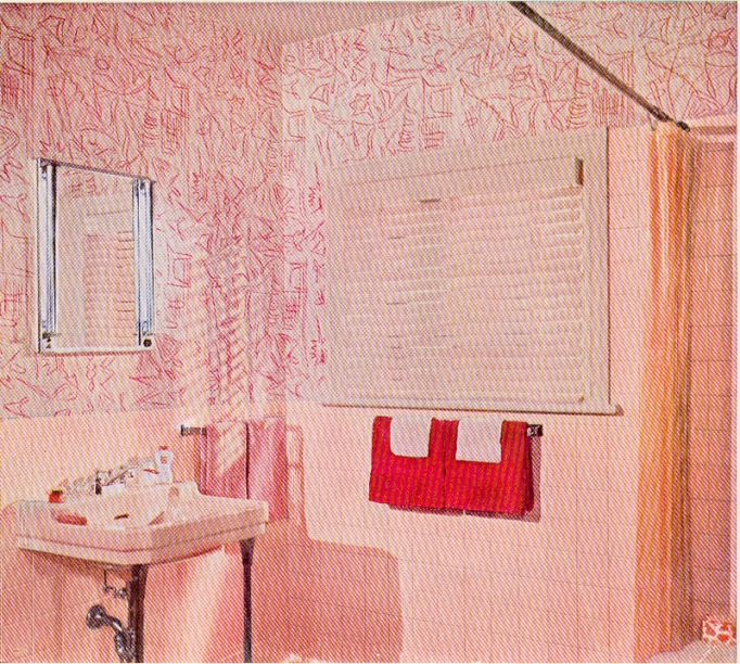 Better Homes Gardens 1961 vintage pink bathroom wallpaper