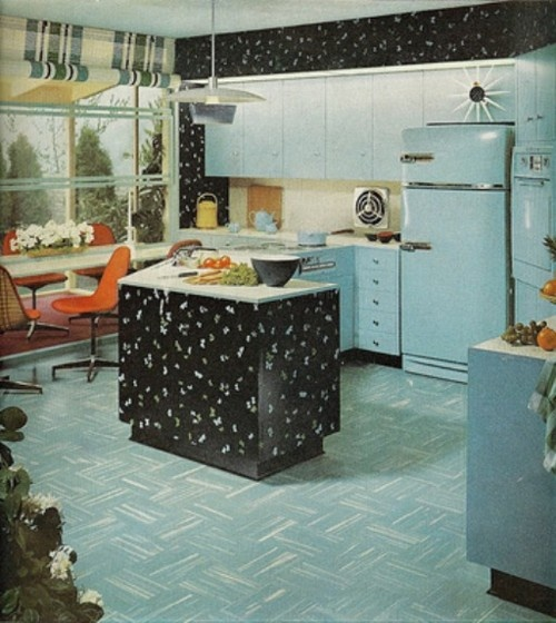 blue black kitchen vintage