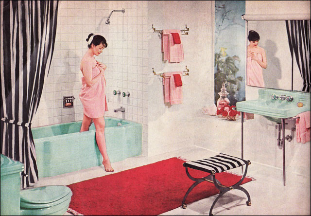 colorful 1950s american standard bathroom pink green