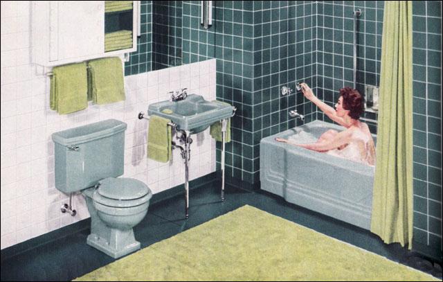 vintage 1950's bathroom blue green