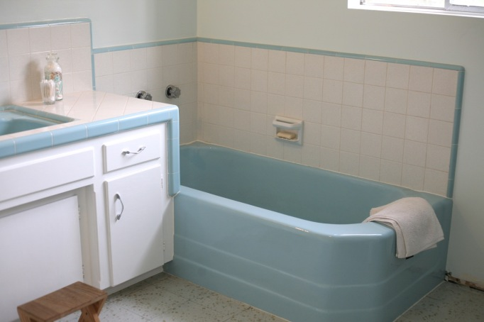 mid century vintage retro blue bath tub