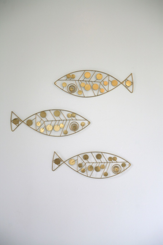 mid century wall hanging metal fish brass gold