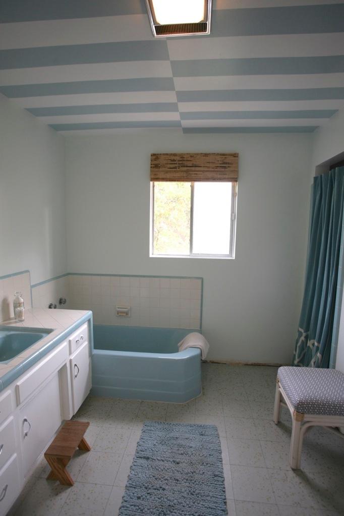 stripes ceiling blue white