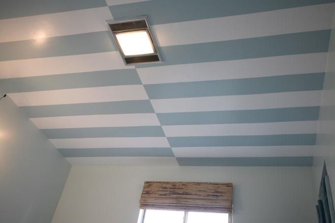 striped ceiling cabana stripes blue white bathroom