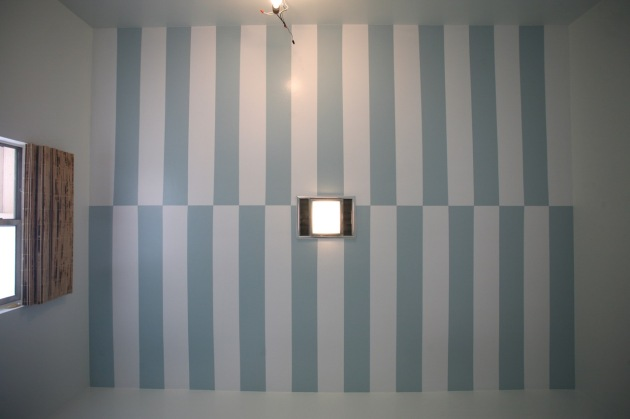 striped ceiling cabana stripes blue white bathroom