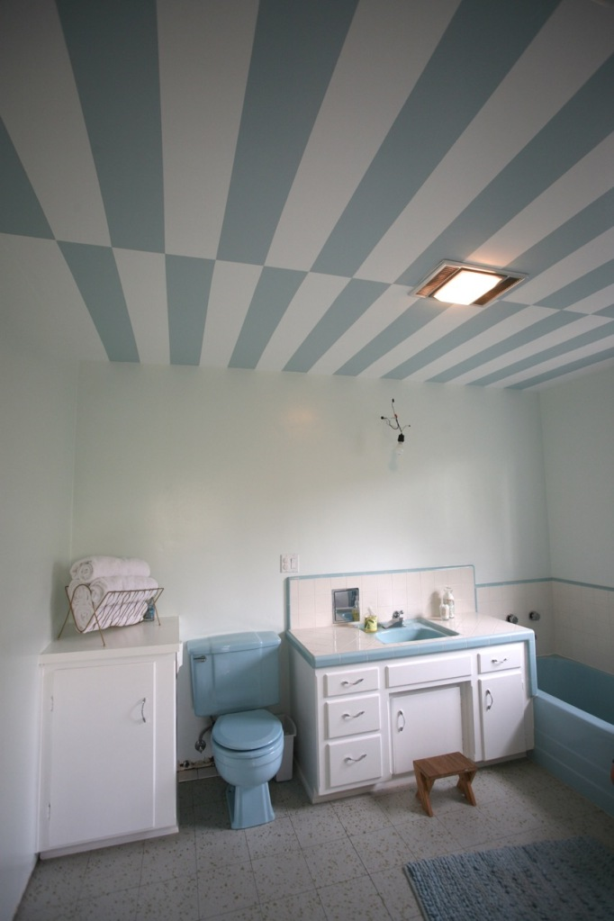 stripes ceiling blue white