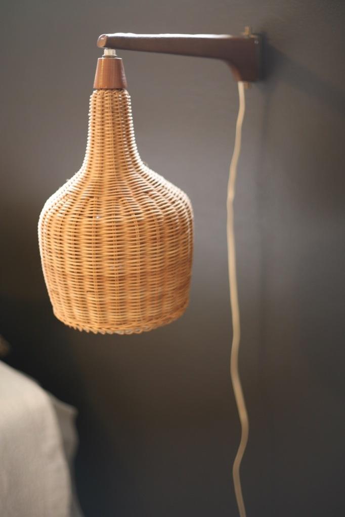Danish Modern Wicker Sconce Bedroom Lamp Cord
