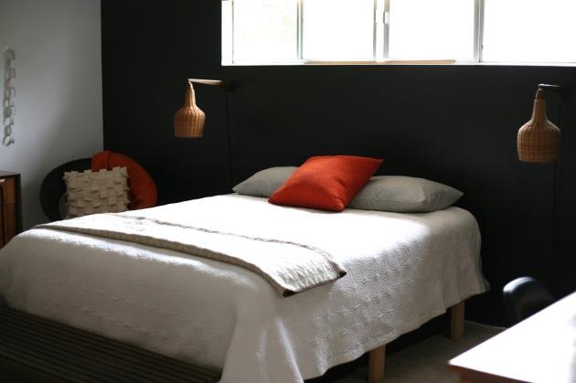 Danish Modern Wicker Sconce Mid Century Black Wall