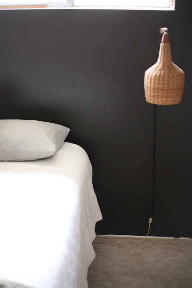 Danish Modern Mid Century Wall Sconce Pendant Wicker