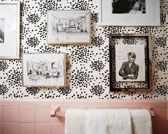 vintage pink bathroom wallpaper