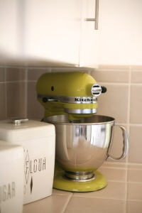 yellow pear kitchenaid mixer vintage canisters