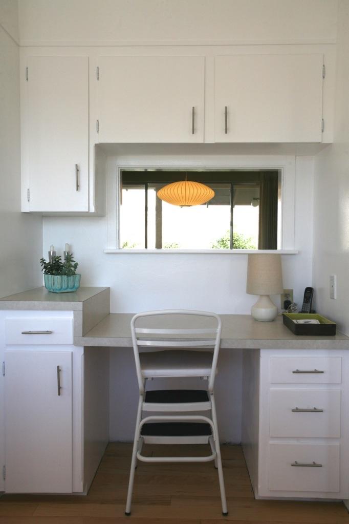 mid century built in kitchen desk george nelson saucer lamp