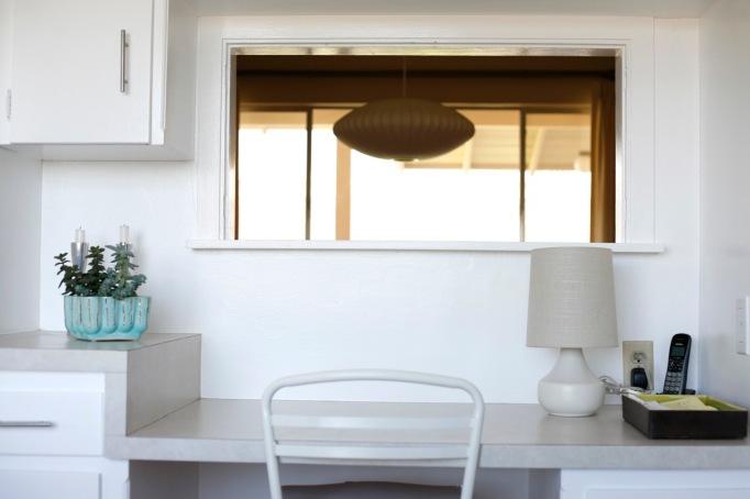mid century built in kitchen desk nelson saucer lamp