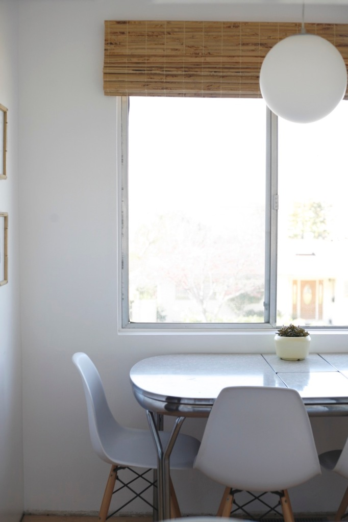 Eames chairs white kitchen formica table mid century