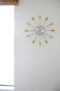 kitchen starburst clock yellow mid century