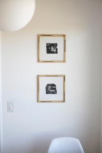 vintage bamboo frames paintings globe ball light kitchen