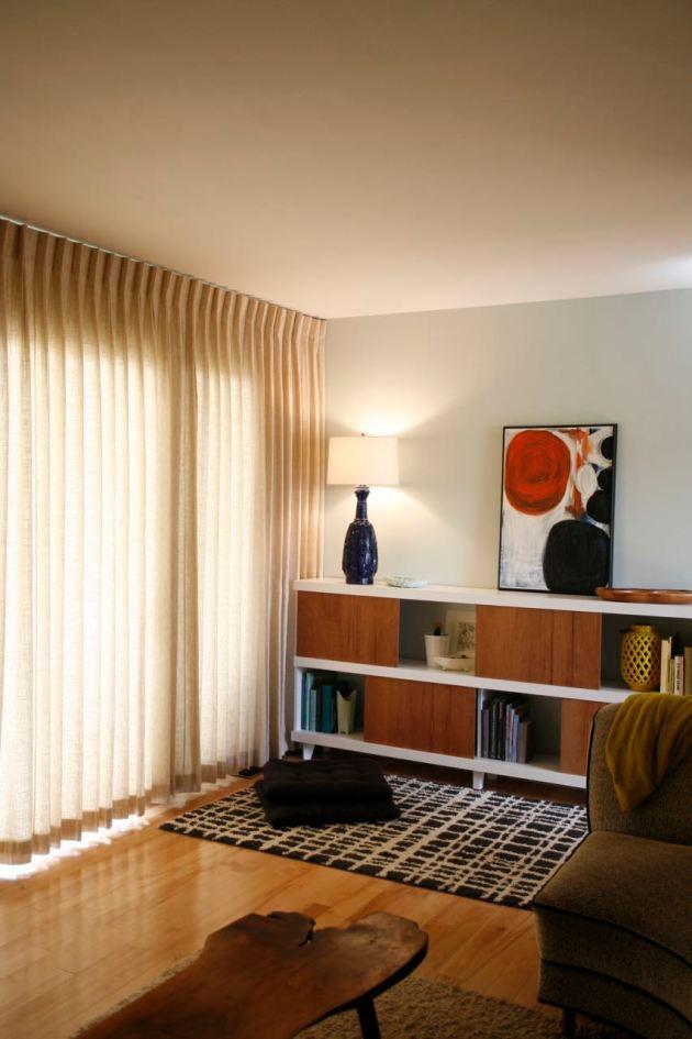 Vintage Mid century pinch pleat Curtains Drapes bookshelf danish