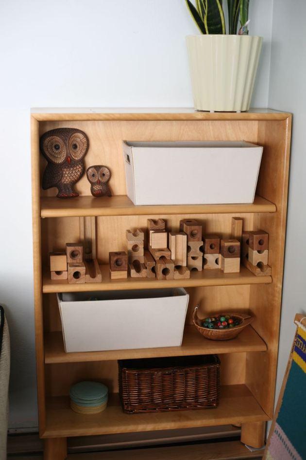 Blond wood shelf toys