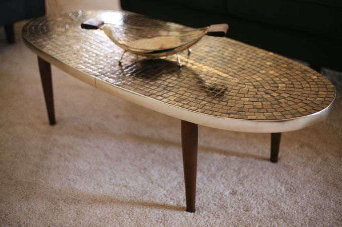 Mosaic mid century coffee table how to replace table legs vintage