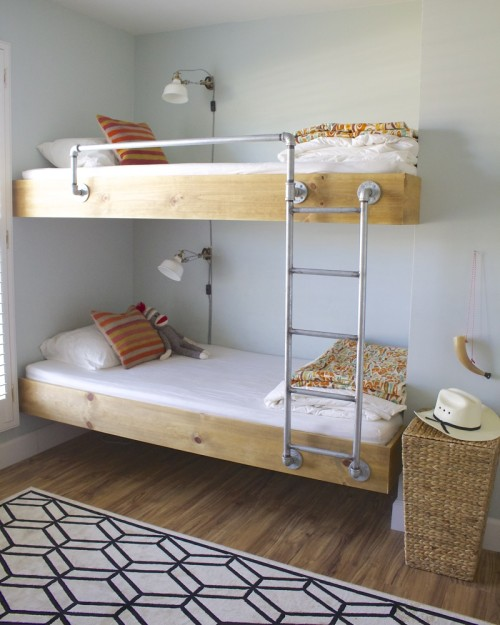 bunk beds children kids room shared modern wood floating