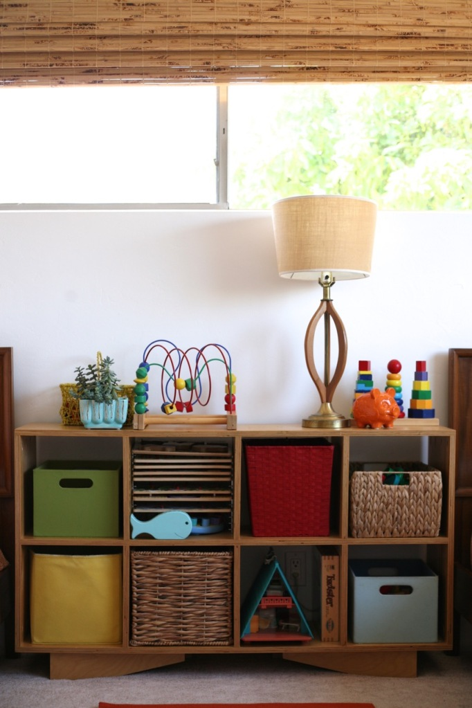 Children's room toy shelf modern wood mid century white walls plywood DIY