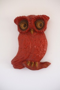Vintage chalkware owl wall hanging orange