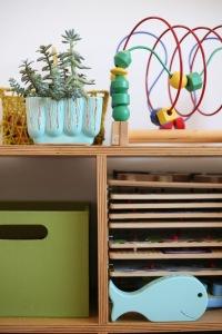 Children's kids room bookshelf toyshelf toy shelf ikea mid century California pottery planter puzzles plywood DIY