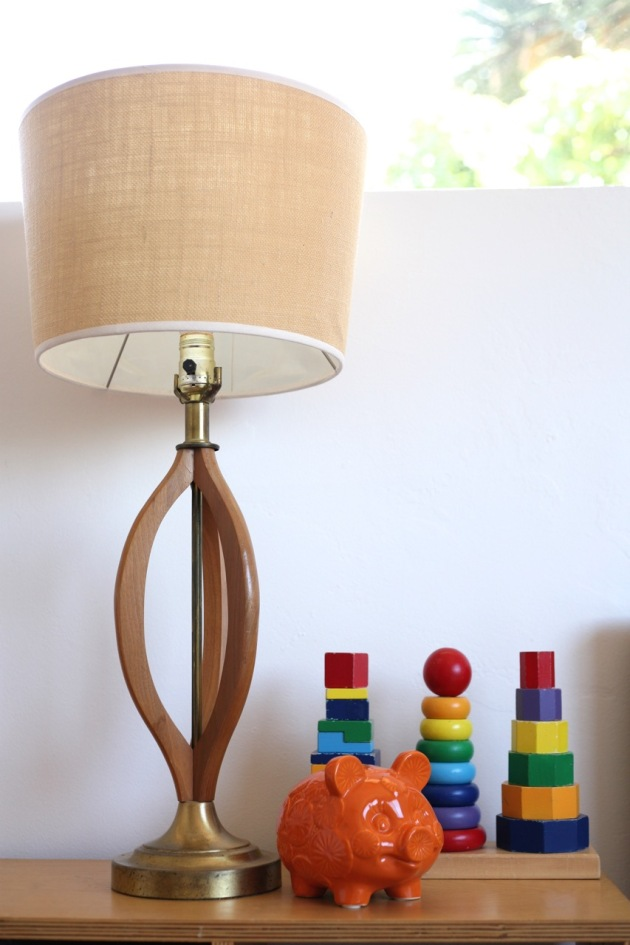 Danish Modern Lamp Kids Children's Room Orange Piggy Bank