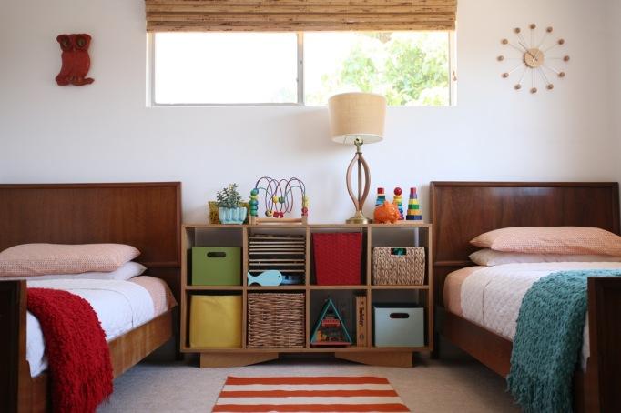Shared children's room danish modern twin beds bedframes stripes mid century bookshelf toy shelf vintage lamp plywood DIY