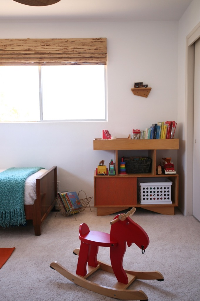 Children's Kids Shared Room Ikea rocking moose Netto Changing table hack modern mid century plywood
