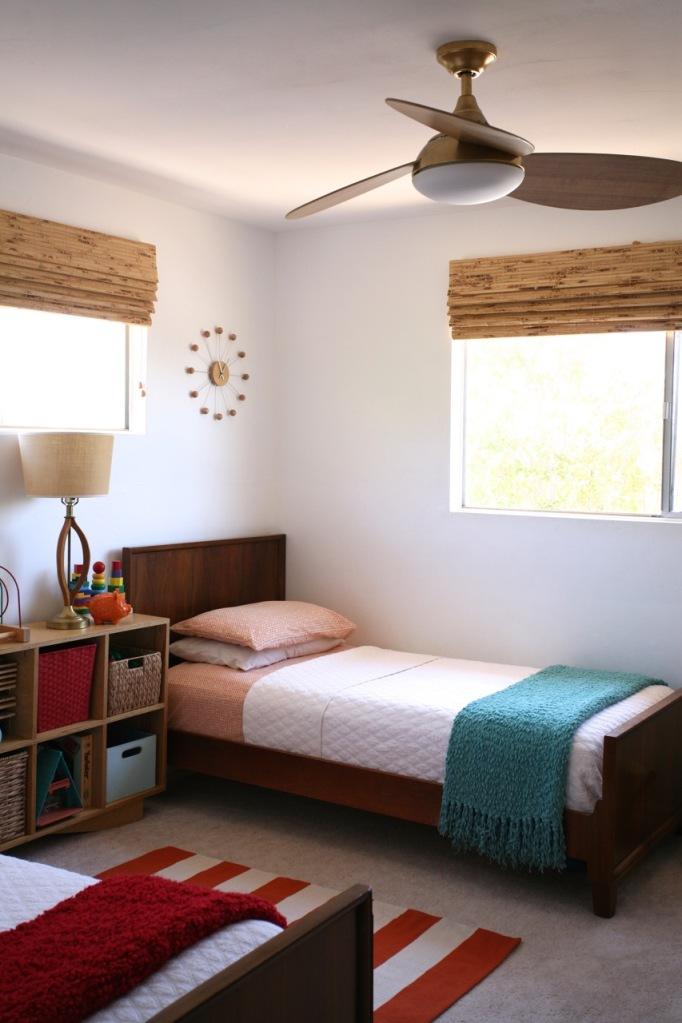 Shared Children's Room Kids Danish Modern twin beds plywood Ceiling Fan Light Wood Mid Century Harbor Breeze Avian Ceiling Fan