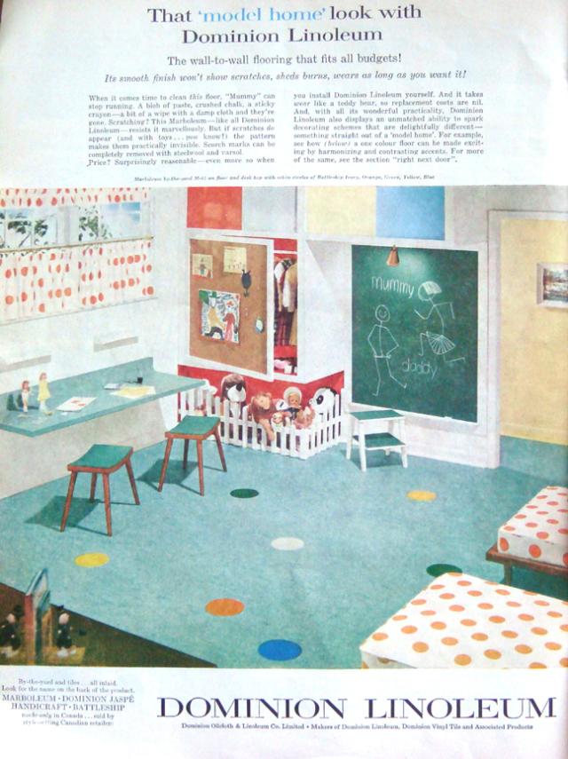 vintage kids room dominion linoleum ad mid century