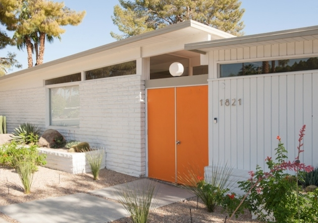 Orange front door mid century modern