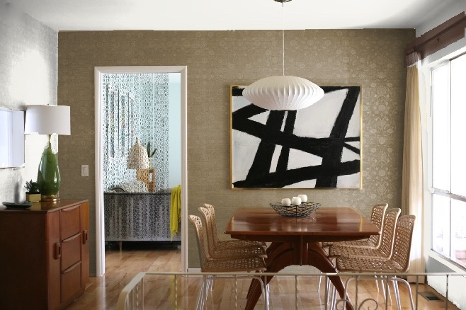 dining room accent wall colors grasscloth brown tan