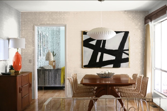 dining room accent wall colors blush pink beige