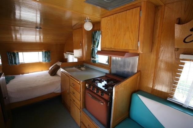 1958 Shasta Airflyte trailer vintage interior refinished wood dinette vinyl upholstery barckcloth