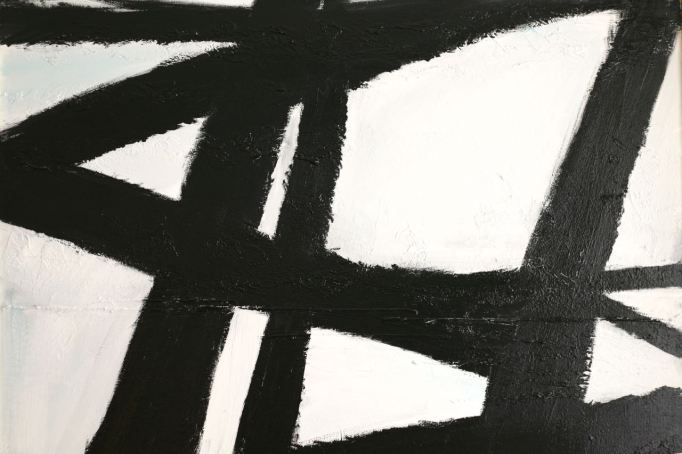 black and white painting large linear lines graphic abstract painting over thrift store old hobby paintings