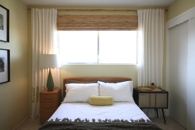 guest room mid century heywood wakefield bed lamp vintage record cabinet bamboo blinds with curtains bamboo curtain rod