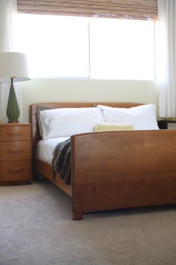 guest room mid century rainforest dew behr paint encore bed niagara nightstand lamp vintage record cabinet bamboo blinds with curtains bamboo curtain rod