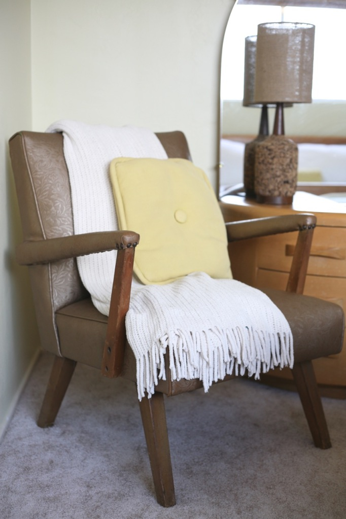 vintage chair mid century fabric nailed