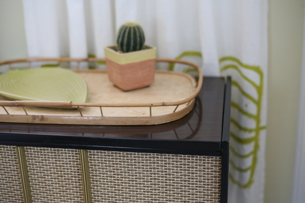 vintage mid century record player cabinet cactus jonathan adler fish plates bamboo tray