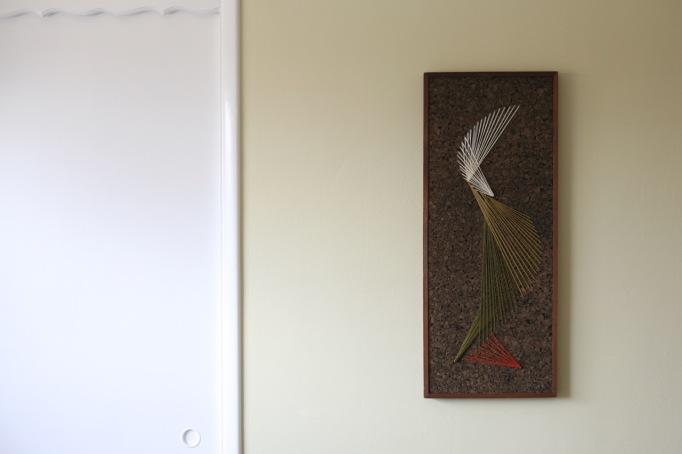 vintage cork string art mid century