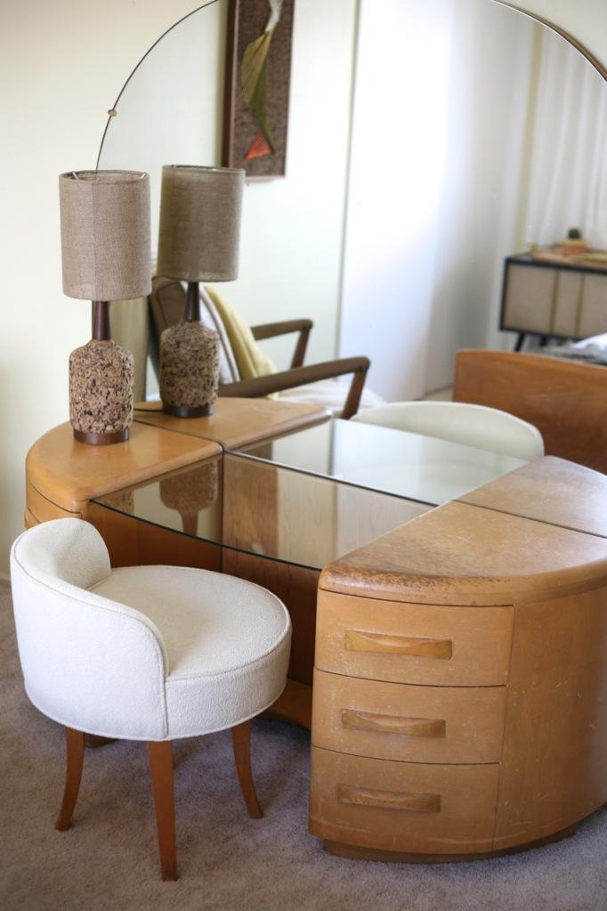 heywood wakefield vanity mid century vintage cork lamp stool