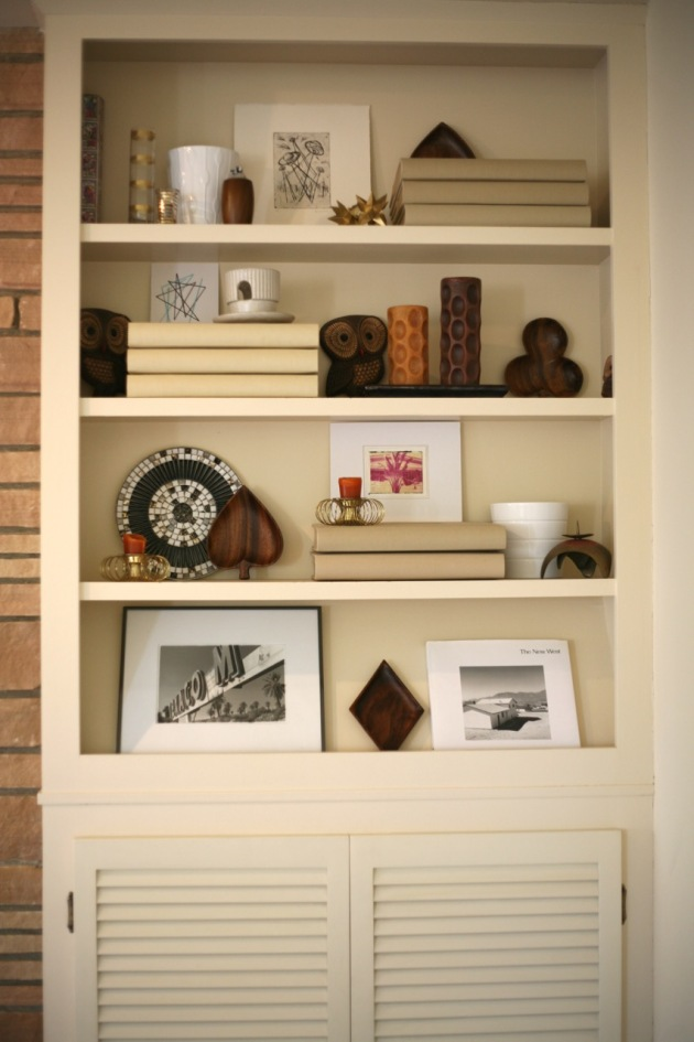 living room family room shelfs salton sea photograph mosaic tray vintage candle sticks