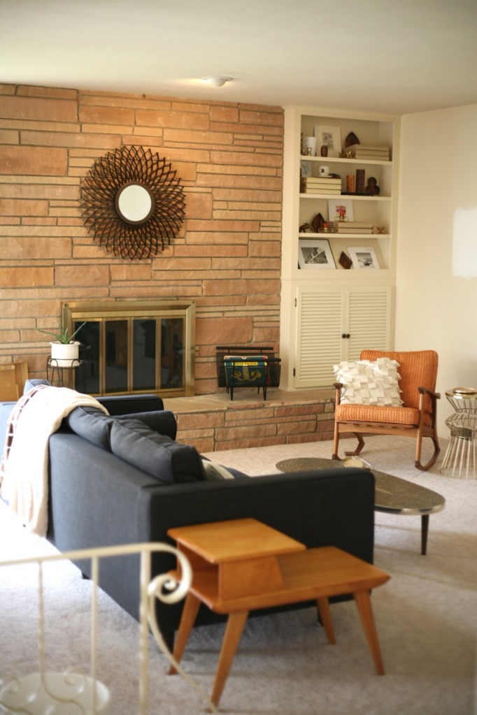 mid century family room living room rock fireplace jcpenny darrin sofa couch